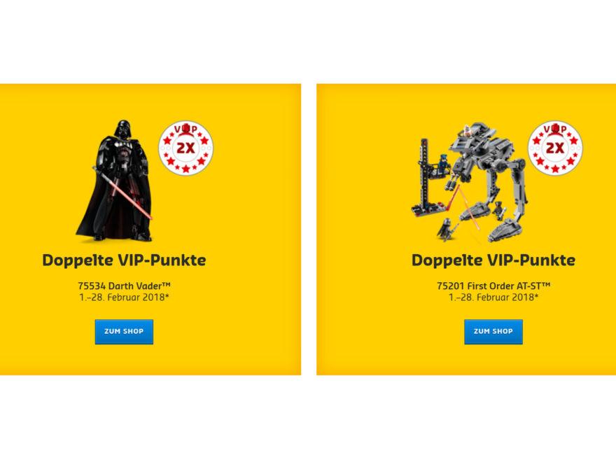 Doppelte VIP-Punkte im Februar 2018 auf Darth Vader und First Order AT-ST | ©LEGO Gruppe