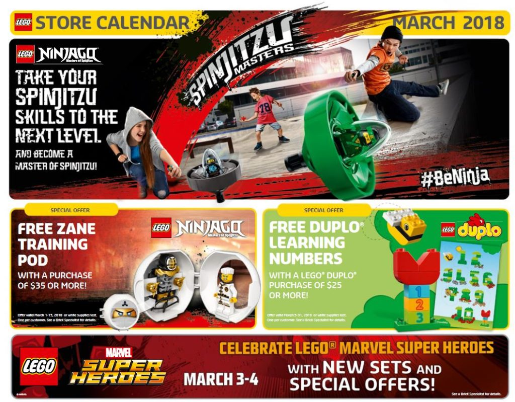 LEGO® Store Calendar March 2018 USA | ©LEGO Gruppe