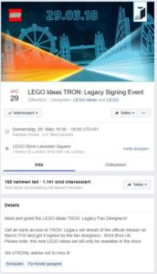 LEGO Ideas TRON: Legacy Facebook Event