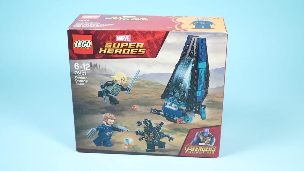 LEGO® Marvel Super Heroes 76101 Outrider Dropship-Attacke - Packung Vorderseite | ©2018 Brickzeit