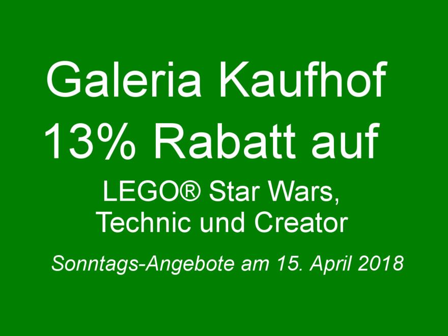 GALERIA Kaufhof Sonntags-Angebote am 15.04.2018 | ©2018 Brickzeit