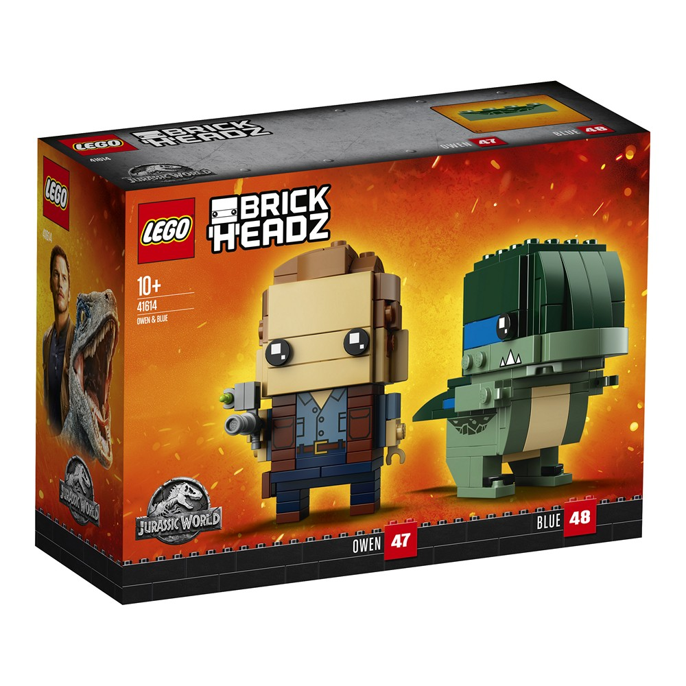 LEGO® Brickheadz™ Jurassic World Owen & Blue (41614) - Packung | ©2018 LEGO Group
