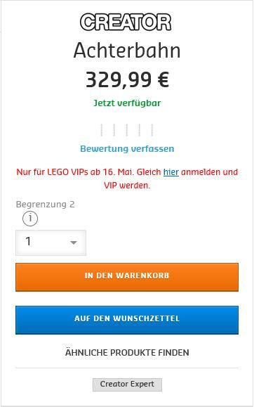 Status 16:50 verfügbar. keine technischen Probleme und Hinweis auf VIP Registrierung