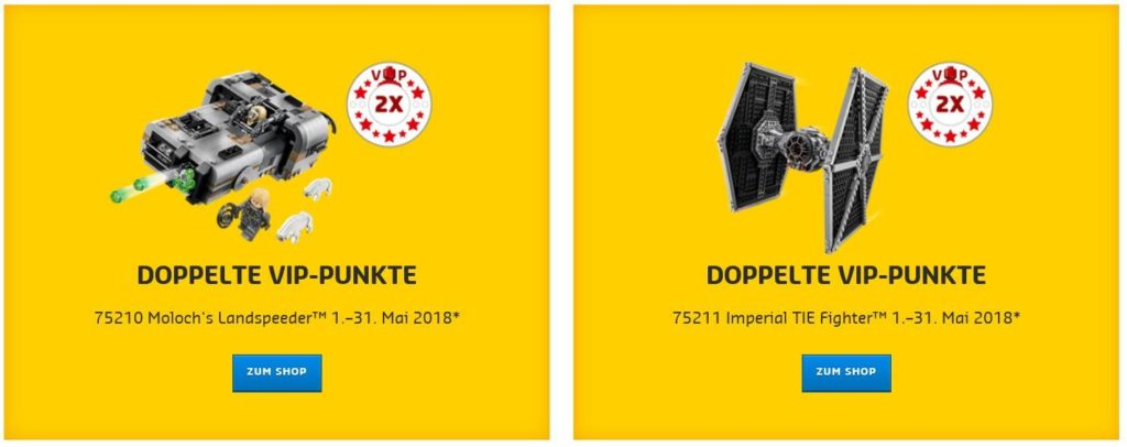 doppelte VIP Punkte auf LEGO® Star Wars™ 75211 und 75210 bis 31. Mai 2018 | ©LEGO Gruppe