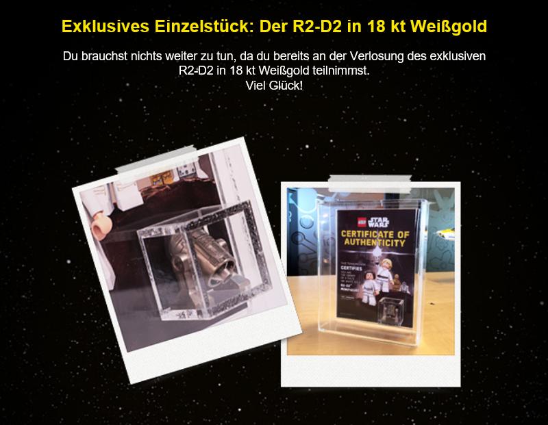 LEGO May the 4th 2018 - Gewinnspiel 18k weißgold R2- D2 für Besitzer der schwarzen LEGO VIP-Karte | ©LEGO Gruppe