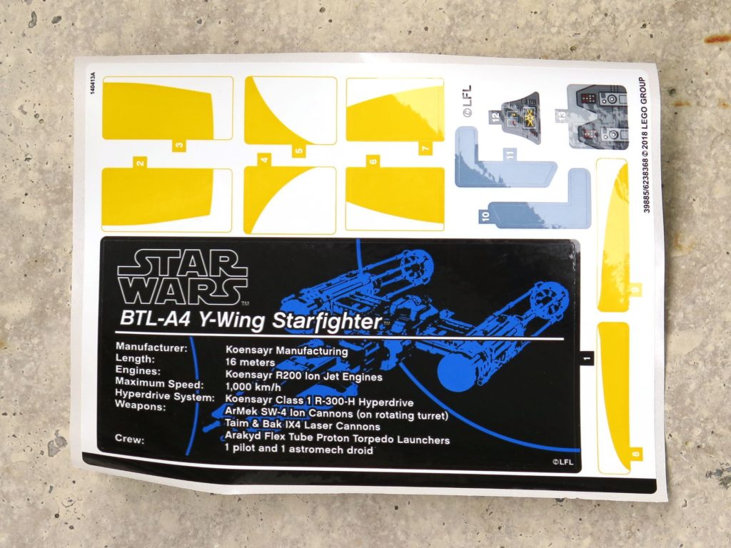 LEGO® Star Wars™ UCS Y-Wing Starfighter (75181) - Sticker | ©2018 Brickzeit
