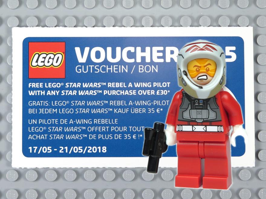 Wandkalender 2018 Gutschein Nr 5 und A-Wing Pilot Minifigur | ©2018 Brickzeit