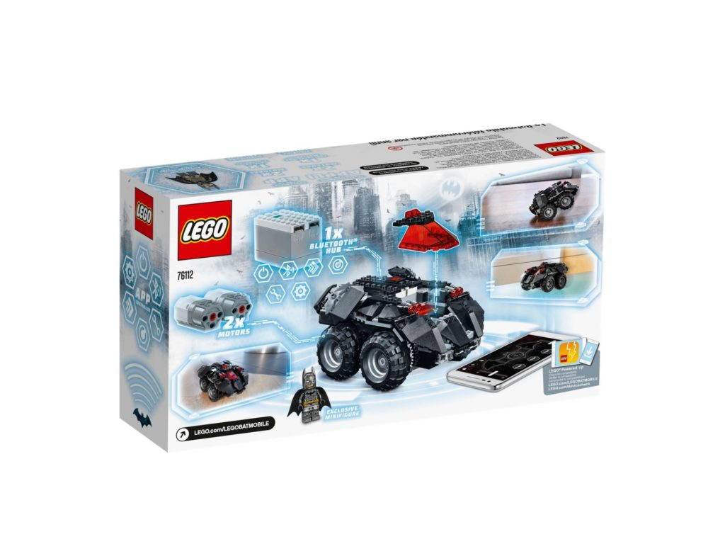 LEGO® DC Comics Super Heroes App-Gesteuertes Batmobile (76112) - Packung, Rückseite | ©2018 LEGO Gruppe