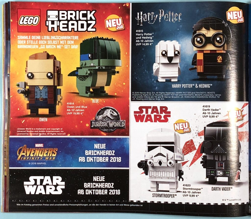 LEGO® Katalog zweites Halbjahr 2018 - Brickheadz - Seite 1 | ©LEGO Gruppe