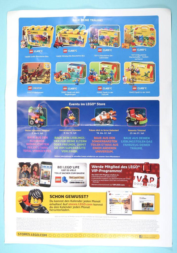 LEGO Store Kalender Juli 2018 - Rückseite
