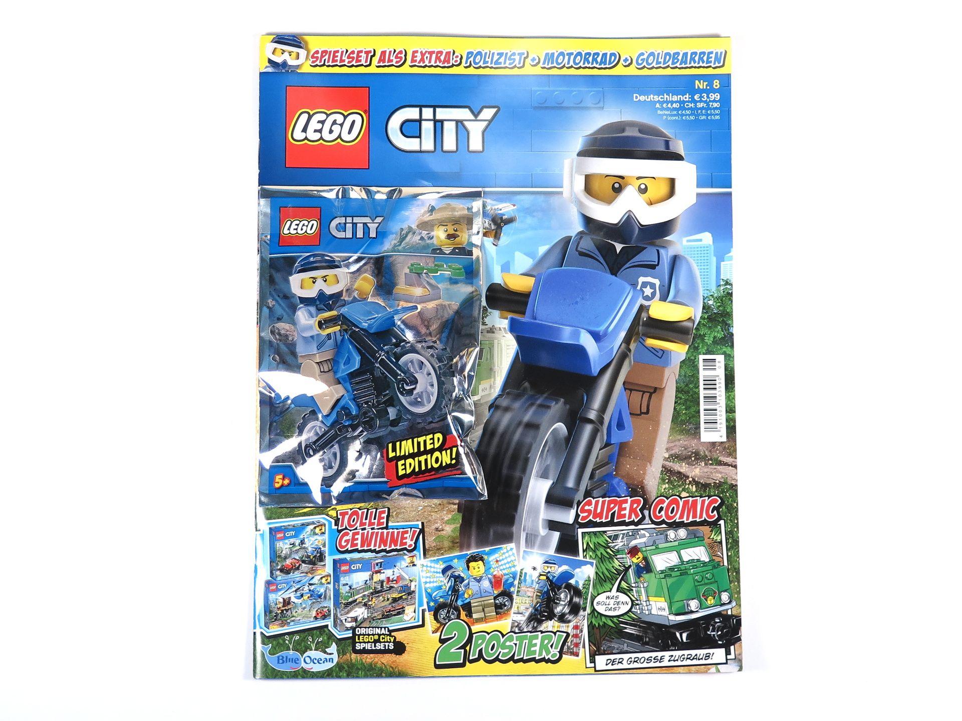 review lego city magazin nr 8 mit polizist motorrad. Black Bedroom Furniture Sets. Home Design Ideas