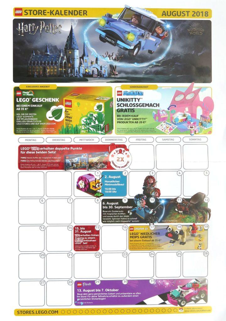 LEGO Store Kalender August 2018 - Vorderseite
