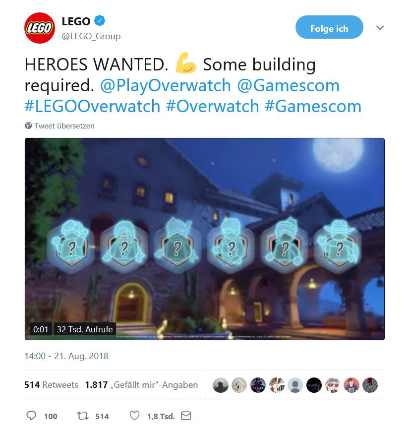 LEGO Overwatch Twitter Teaser 21.08.2018