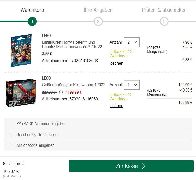GALERIA Kaufhof - 20% Rabatt bei Kauf von 3 Artikeln-Warenkorb | ©2018 Brickzeit