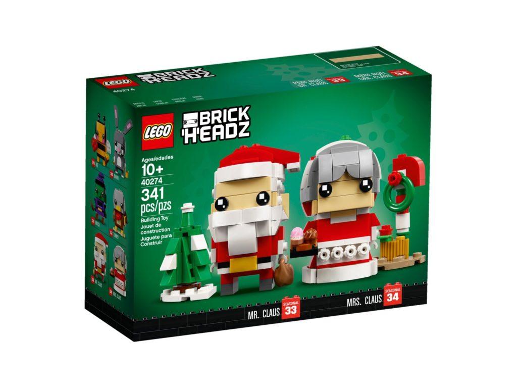 LEGO® Brickheadz™ Herr und Frau Weihnachtsmann 40274 - Packung Vorderseite | ©LEGO Gruppe