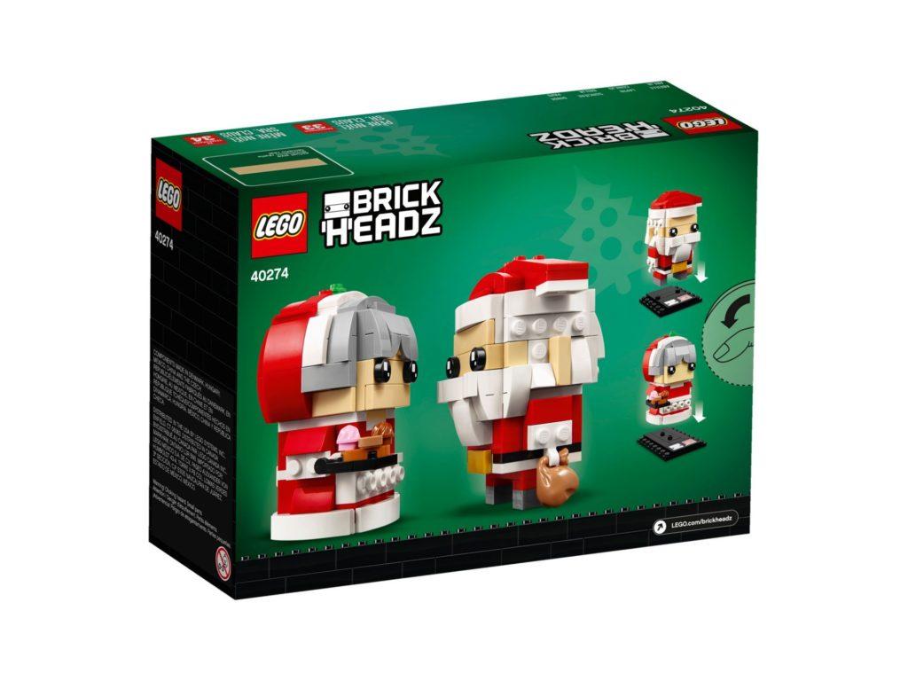 LEGO® Brickheadz™ Herr und Frau Weihnachtsmann 40274 - Packung Rückseite | ©LEGO Gruppe