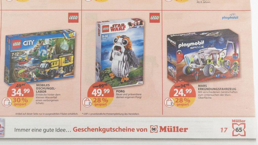 Prospekt Seite 17 Müller Angebot für LEGO Star Wars 75230 Porg