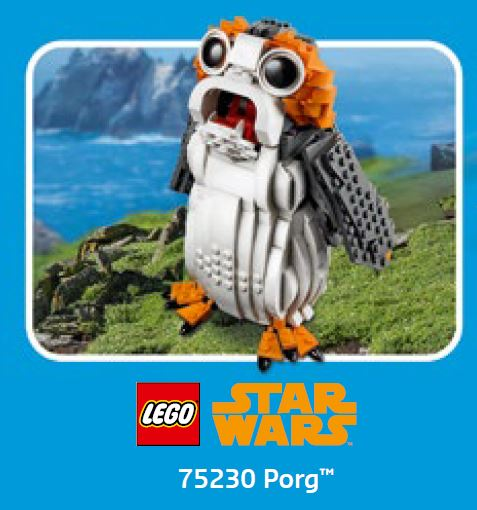 LEGO Star Wars Porg 75230 auf US Store Kalender Oktober 2018 | ©LEGO Gruppe