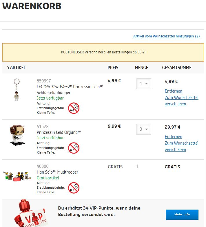 LEGO Online Shop Warenkorb 1.10.2018 | LEGO Gruppe