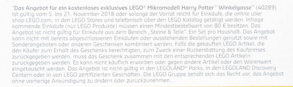 Kleingedrucktes LEGO Harry Potter Winkelgasse 40289 | ©LEGO Gruppe