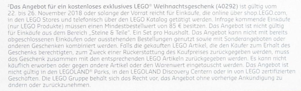 Kleingedrucktes LEGO® Weihnachtsgeschenk 40292 | ©LEGO Gruppe