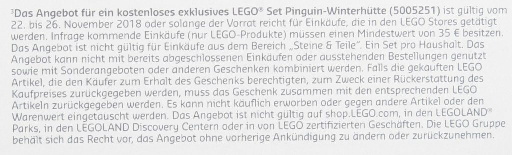 Kleingedrucktes LEGO® Pinguin-Winterhütte 5005251 | ©LEGO Gruppe