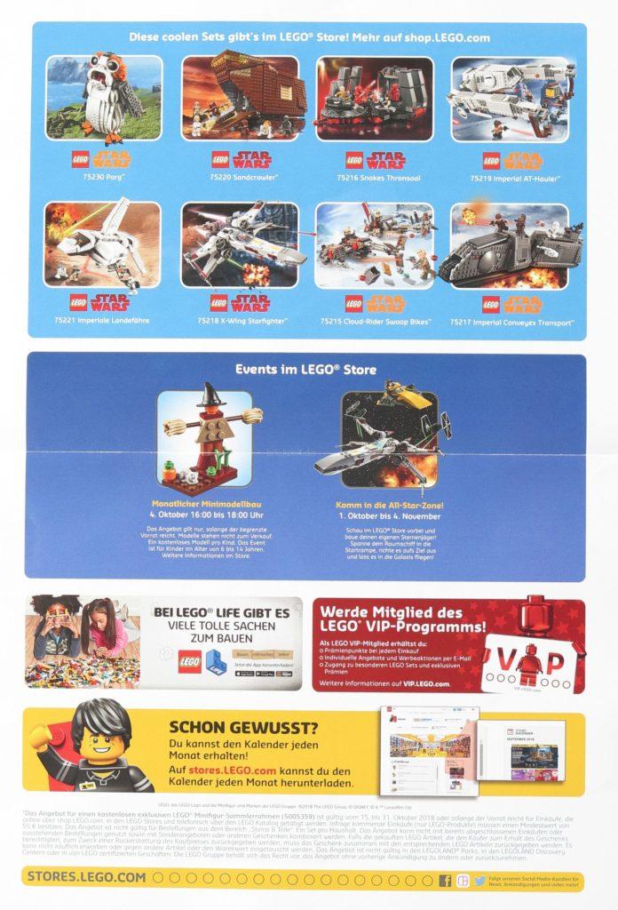 LEGO Store-Kalender Oktober 2018 - Rückseite | Foto von Brickzeit