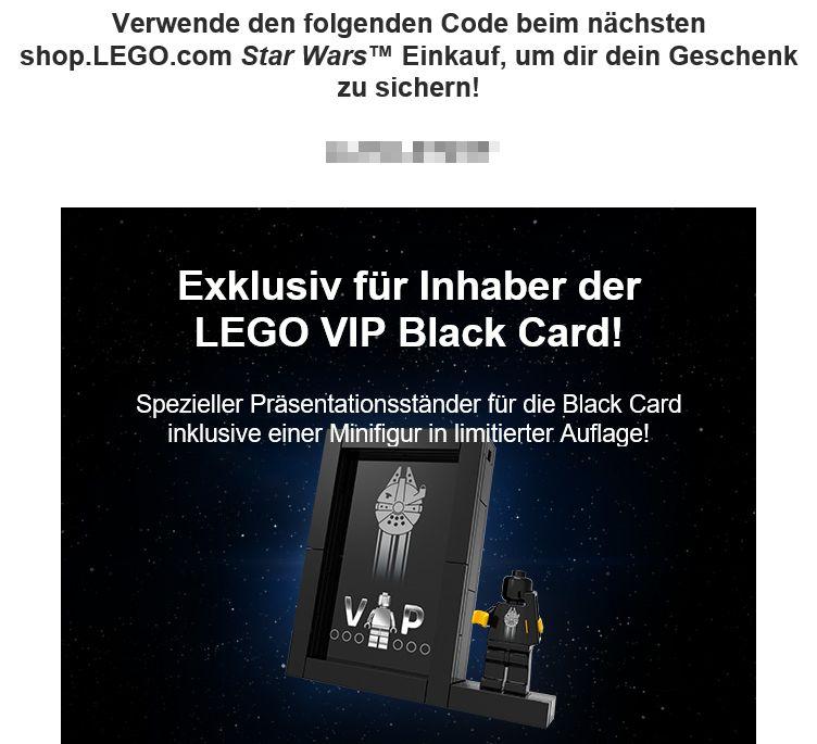 Email mit Code für LEGO Präsentationsständer | ©LEGO Gruppe