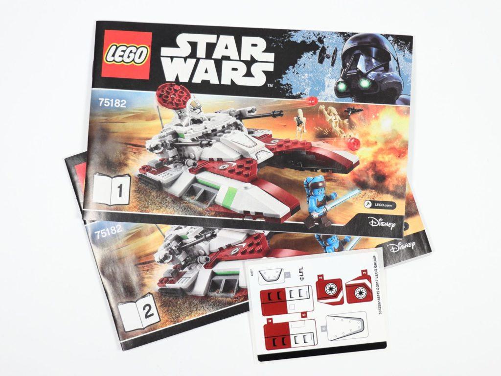 LEGO® Star Wars™ 75182 Republic Fighter Tank - Inhalt, Anleitungen und Aufkleber | ©2019 Brickzeit