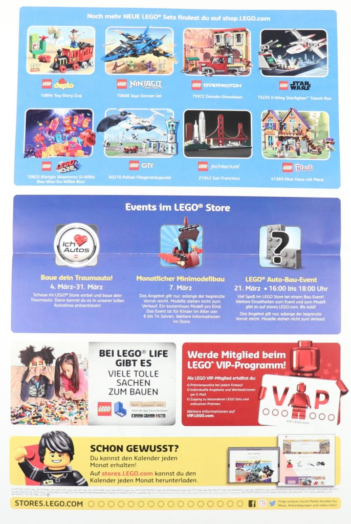 LEGO Store-Kalender März 2019 - Rückseite