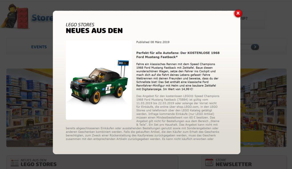 Kostenloser 1968 Ford Mustang Aktion im LEGO® Shop | ©LEGO Gruppe