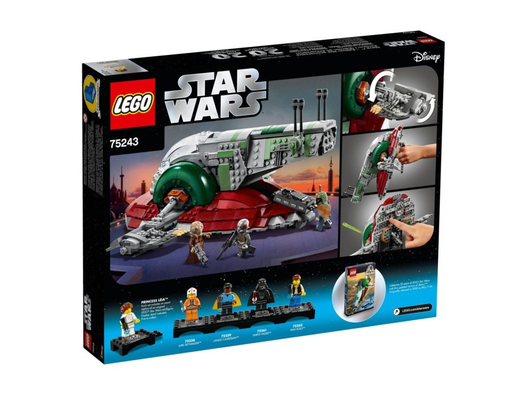 LEGO® 75243 Slave I™ - 20 Jahre LEGO Star Wars - Packung Rückseite | ©LEGO Gruppe