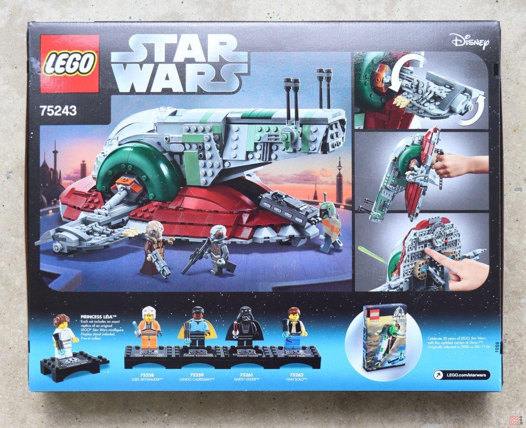 LEGO® Star Wars™ 75243 Slave I - Packung, Rückseite | ©2019 Brickzeit