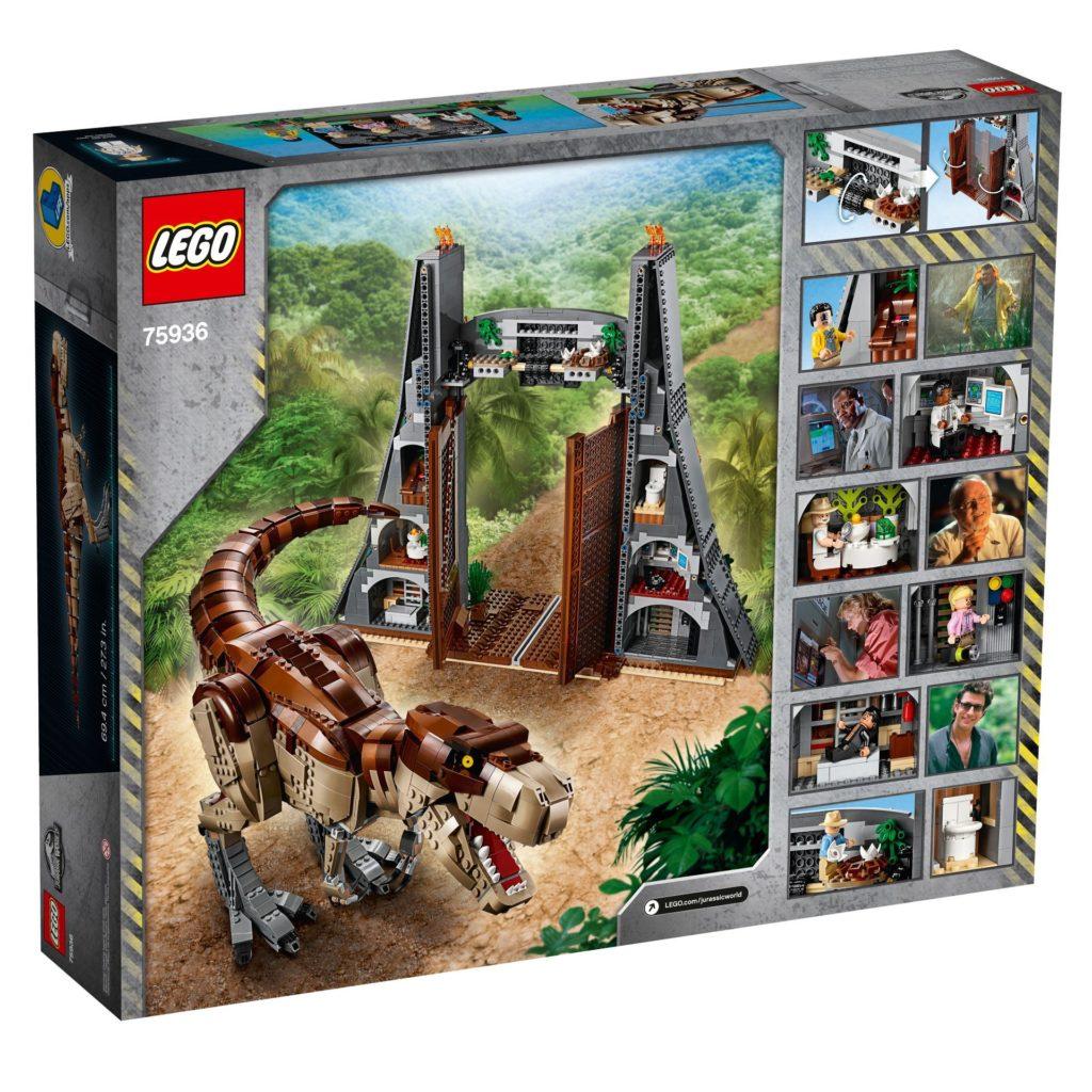 LEGO® 75936 Jurassic Park T.Rexs Verwüstung - Packung, Rückseite | ©LEGO Gruppe