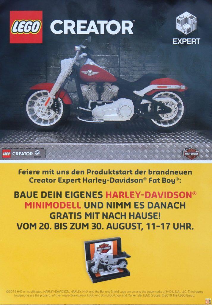 LEGO Flyer Bauaktion Harley-Davidson Minimodell August 2019 in LEGO Store Riem-Arcaden bei München | Foto Brickzeit