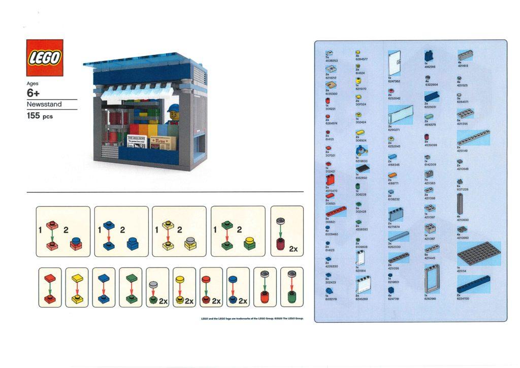 Bauanleitung LEGO Zeitungskiosk aus Bauaktion vom 09.01.2020 - Seite 1 | ©LEGO Gruppe