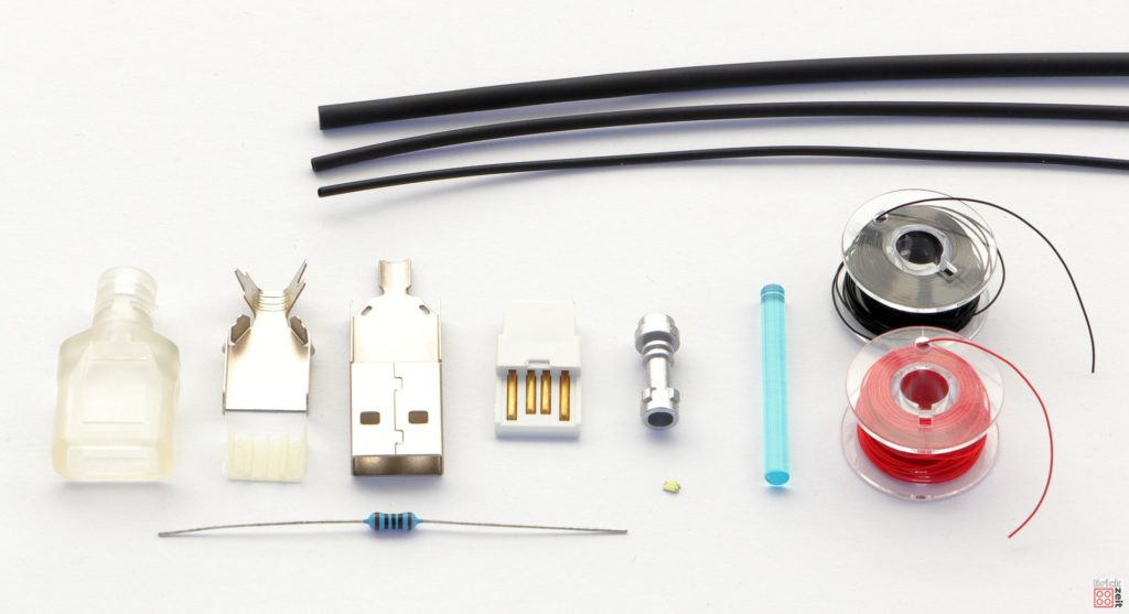 Bestandteile für ein LED-beleuchtetes LEGO Lichtschwert | ©2020 Brickzeit