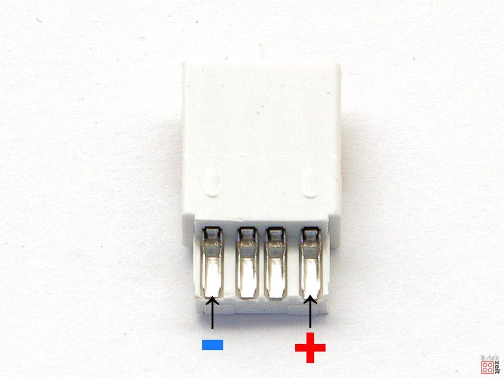 Polung USB-Stecker Innenseite zum Löten | ©2020 Brickzeit