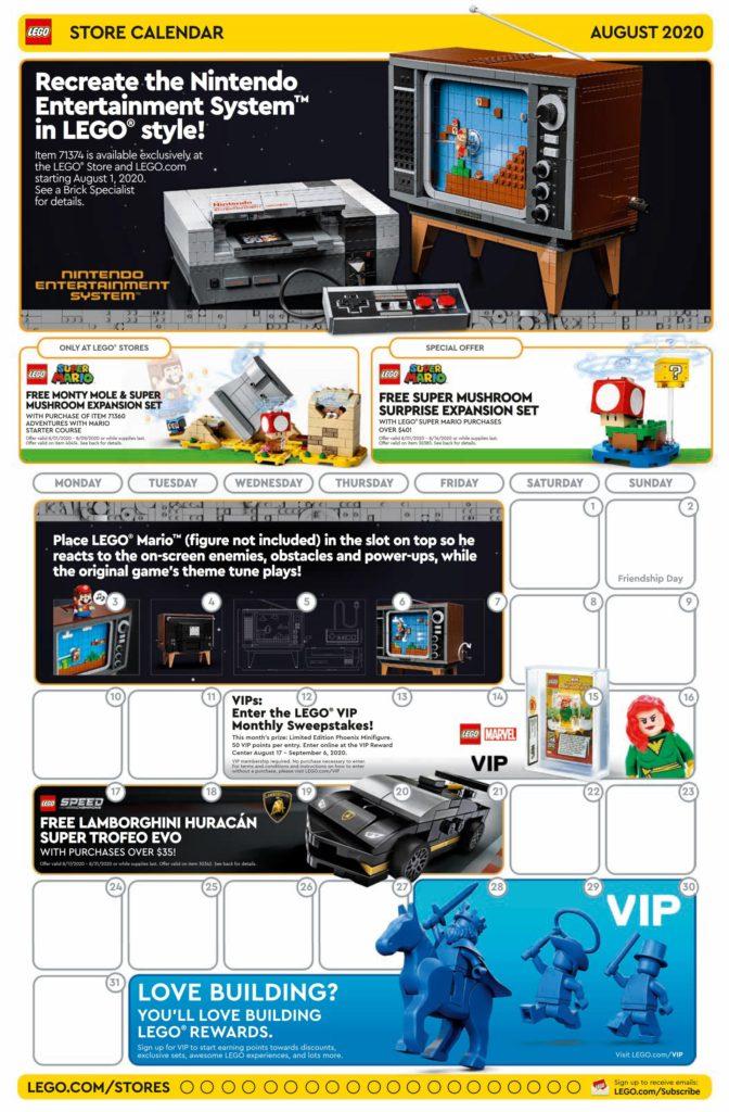 LEGO Store Kalender USA für August 2020 - Seite 1 | ©LEGO Gruppe