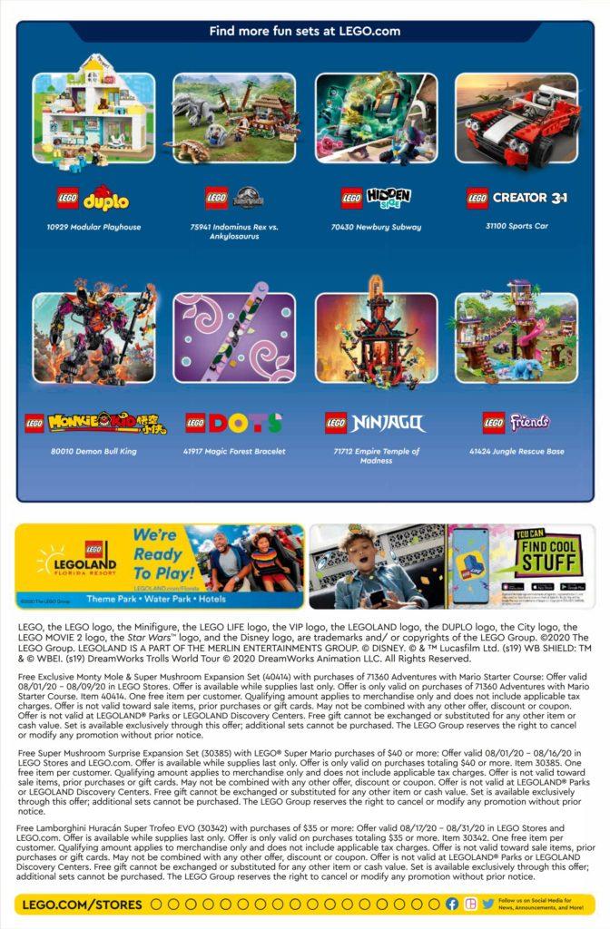 LEGO Store Kalender USA für August 2020 - Seite 2 | ©LEGO Gruppe