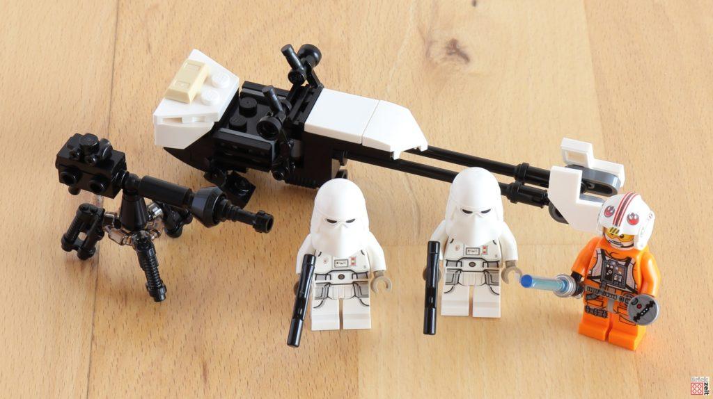 Speeder, E-Netz-Blasterkanone, Snowtrooper und Luke aus dem LEGO 75288 AT-AT | ©Brickzeit