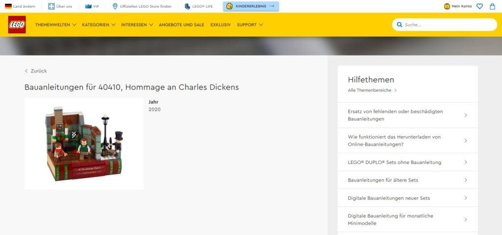 LEGO 40410 Hommage an Charles Dickens im LEGO Online Shop | ©LEGO Gruppe