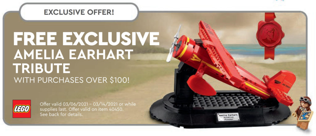LEGO 40450 Amelia Earhart Tribute - Ankündigung aus dem LEGO Store Kalender März 2021 in USA