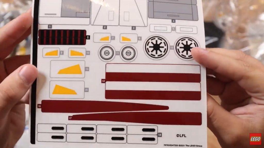Aufkleber LEGO Star Wars 75309 UCS Republic Gunship | ©LEGO Gruppe
