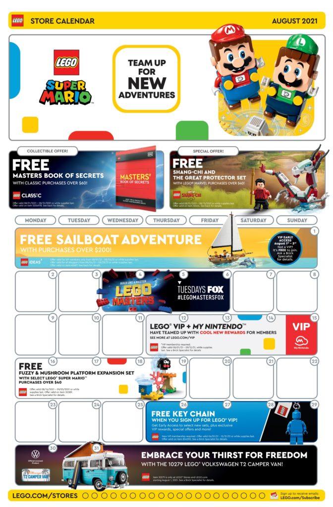LEGO Store Kalender August 2021 USA - Seite 1 | ©LEGO Grupe